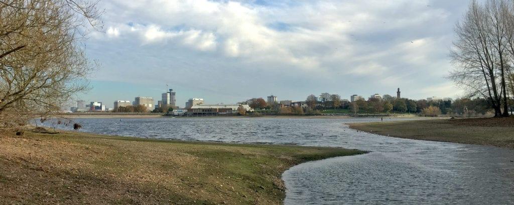 View of Edgbaston Reservoir with Birmingham skyline in the background