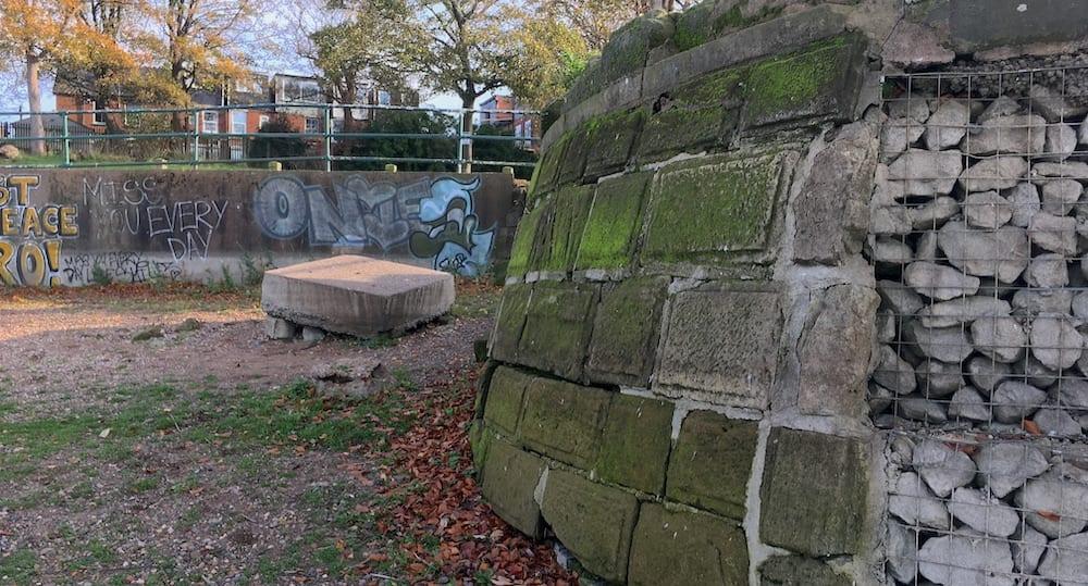 Edgbaston Reservoir embankment masonry