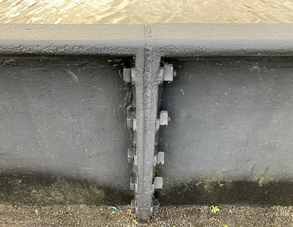 Edstone Aqueduct cast-iron panels and attaching bolts