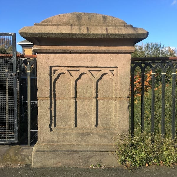 Galton Bridge stone piers with Gothic blind tracery