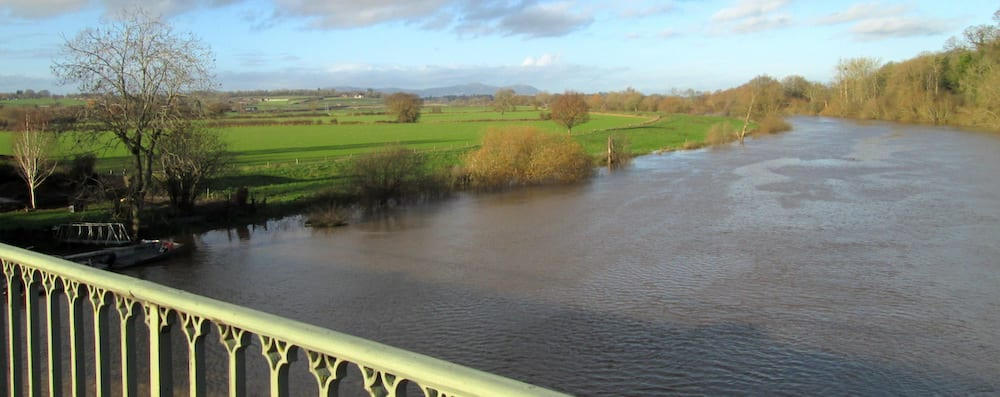 View of the Malvern Hills from the north side of the Mythe Bridge