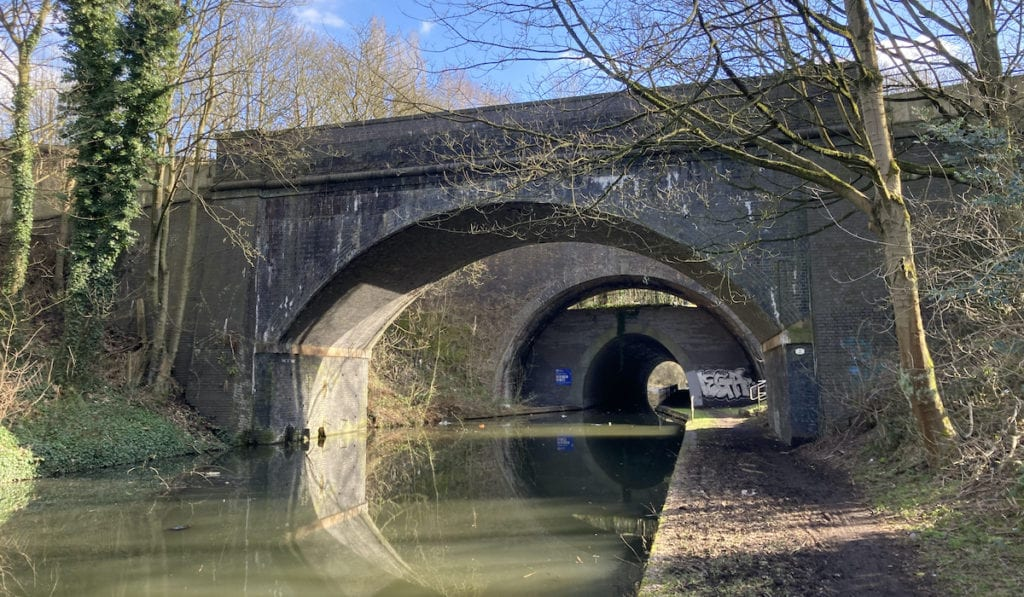 Trio of arches crossing the BCN Old Main Line canal at Smethwick