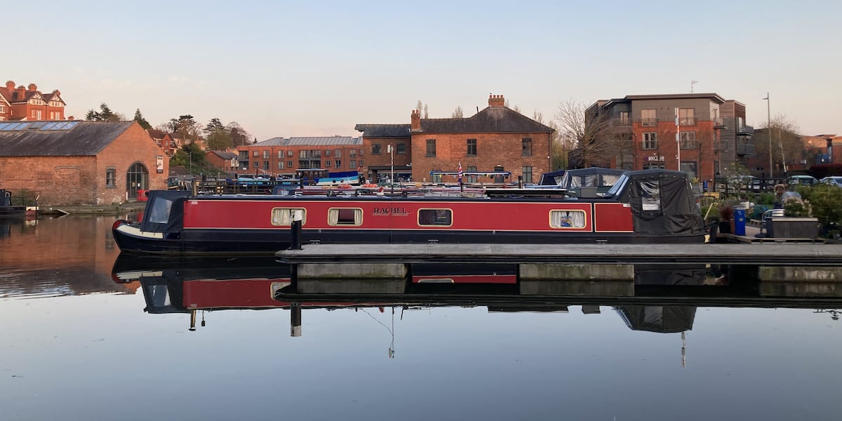 Diglis Basin with moored canal narrowboats