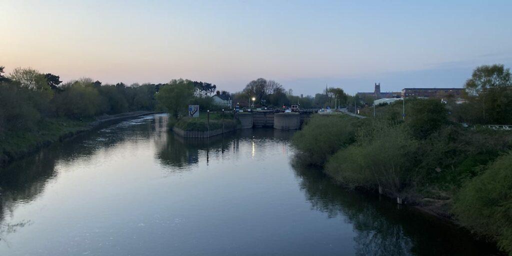 View of Diglis Lock from Diglis Bridge